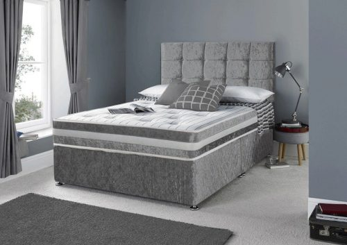 Designer Luxury Crushed Velvet Divan Beds, modern divan beds, divan beds with headboard, divan bed with drawers