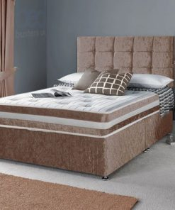 Designer Luxury Crushed Velvet Divan Bed Set-Under Bed Storage Options
