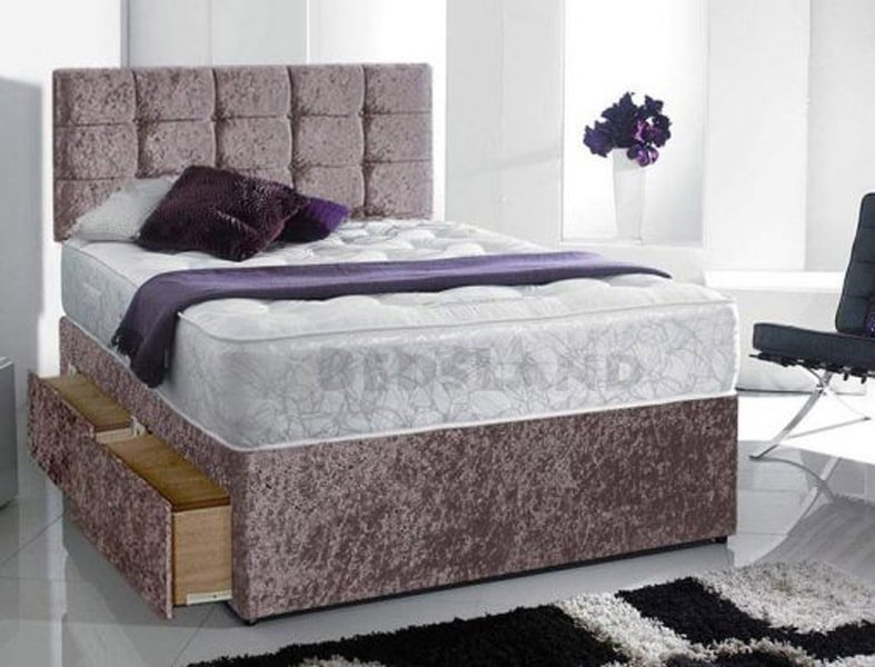 new style b308a 35a43 Gracie Crushed Velvet Divan Storage Beds With Mattress