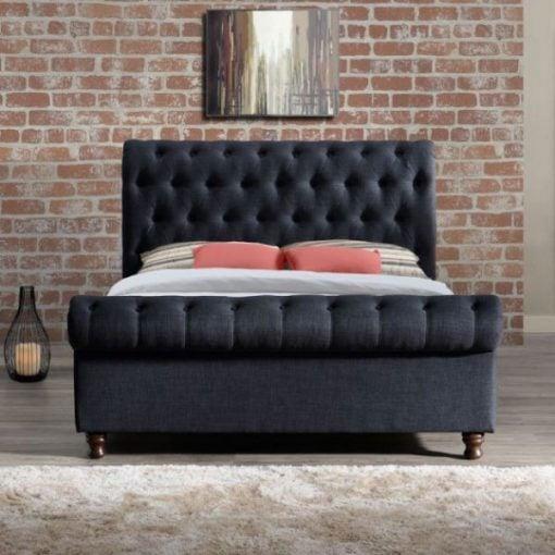 Addis Designer Fabric Sleigh bed
