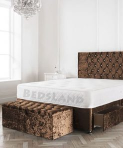 Modern Brown Crushed Velvet Divan Bed Set- Bed Base Storage Options- Mattress Options