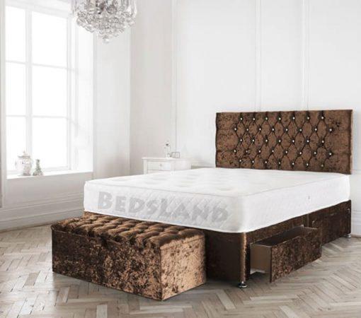 Modern Brown Crushed Velvet Divan Bed Set- Bed Base Storage Options- Mattress Options