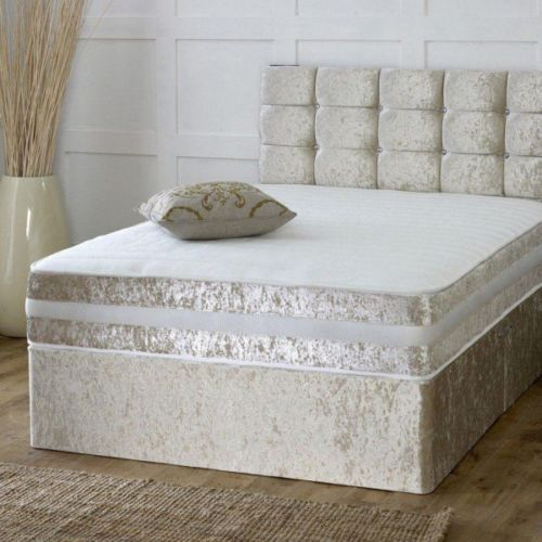Designer Champagne Crushed Velvet Divan Bed Set-Under Bed Storage Options- Mattress Options