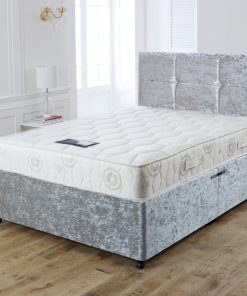 3FT Silver Crushed Velvet Single Bed with Drawers