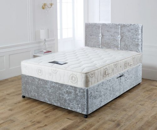 3ft single bed, 3FT Silver Crushed Velvet Single Bed with Drawers