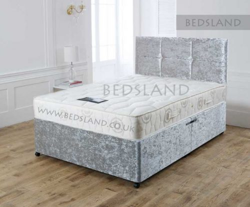 divan beds, storage base, divan storage base, double storage base, king size storage base, silver crushed velvet bed, silver divan, silver velvet bed