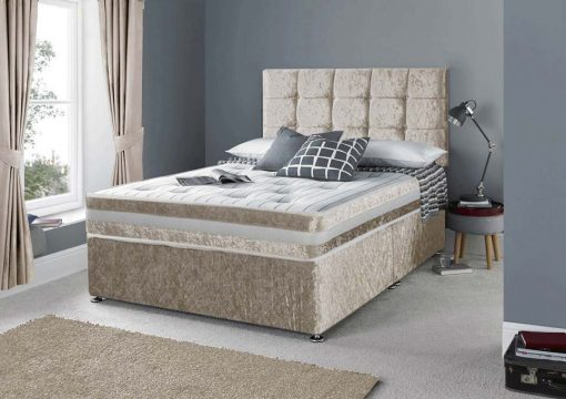 Designer Champagne Crushed Velvet Divan Bed Set-Under Bed Storage Options- Mattress Options