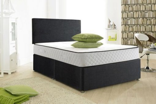 Crushed Velvet Modern Black Divan Bed Set-Under Bed Storage Options-Mattress Options