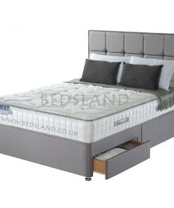 Grey Suede Divan Bed Base - Storage Bed - Divan Headboard