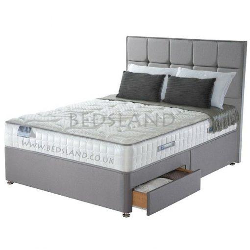 Grey Suede Divan Bed Base - Storage Bed - Divan Headboard