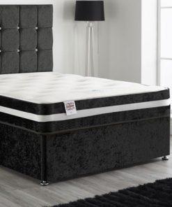 black velvet divan bed - black crushed velvet bed - black divan bed with designer headboard - black divan bed with headboard and drawers - black divan bed double - black divan bed 3ft single - black divan bed king size