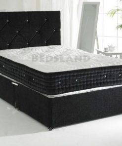 Designer Black Crushed Velvet Divan Bed Set-Under Bed Storage Options- Mattress Options