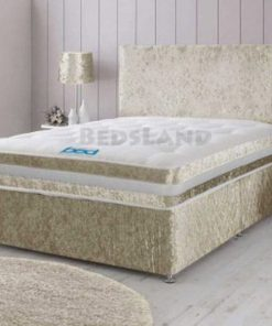 Modern Champagne Crushed Velvet Divan Bed Set-Under Bed Storage & Mattress Options