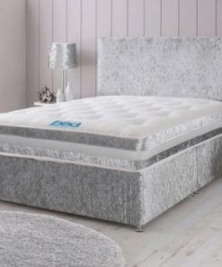 Modern Silver Crushed Velvet Divan Bed Set-Under Bed Storage Options- Mattress Options