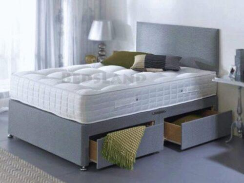 Modern Luxury Sude Divan Bed Set-Under Bed Storage Options