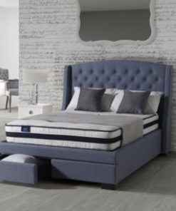 ANNUNZIATA SOVEREIGN FABRIC SLEIGH BED FRAME WITH 2 DRAWERS