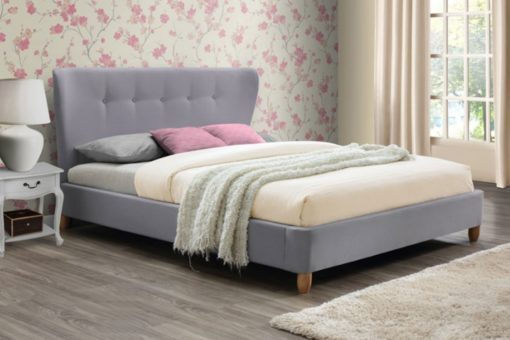 CIPRIANA AMORE GREY FABRIC SLEIGH BED FRAME