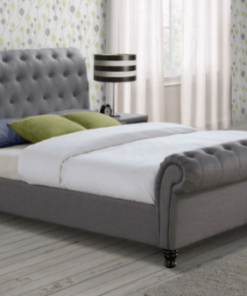 TIZIANA GREY FABRIC SLEIGH BED FRAME