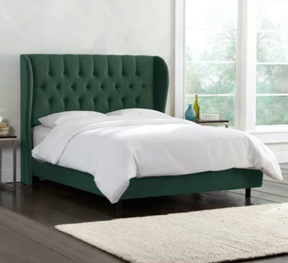 ANNETTA CHESTERFIELD FABRIC UPHOLSTERED SLEIGH BED FRAME