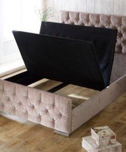 Alessia Diamond Cotton Fabric Storage Bed Frame