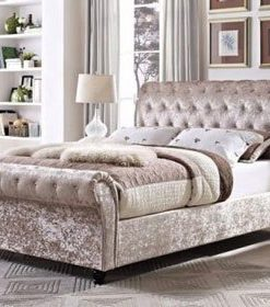 MARIANO CHESTERFIELD UPHOLSTERED SLEIGH BED FRAME