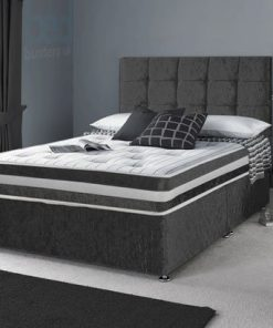 4ft Small Double Black Crushed Velvet Divan Bed Set-Drawers-Headboard-Mattress Options