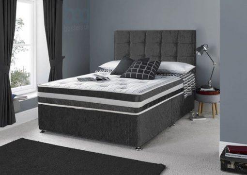 4ft Small Double Black Crushed Velvet Divan Bed Set-Drawers-Headboard-Mattress Options