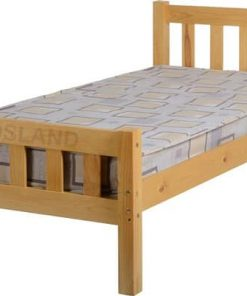Carlow Wooden Bed 3FT Single Frame With Mattress - Cheap Wooden Bed - Free & Fast Delivery Service - Free Return - Free Replacement - Cheap Beds