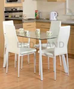 Abbey Dinning Set - Clear Glass Table - White - Grey - Black - Cheap Price Dinning Set