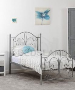 Annabel Metal bed frame - 3ft single - 4ft6 double - silver colour - white colour - cheap metal beds - free delivery - free return