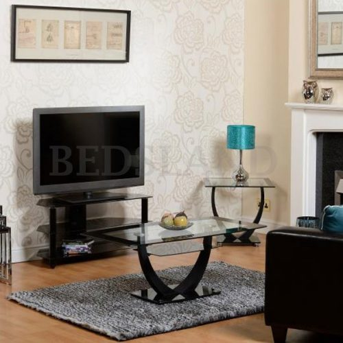 Bromley TV Stand - Black Glass Finish - Shelf - Bedroom Furniture - Bedroom TV Stand - Cheap Price - Free Delivery
