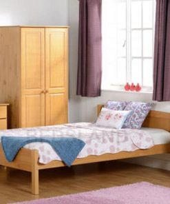amber antique pine wooden bed set with mattress - headboard - foot end board - cheap price - free delivery - free return - 3ft single - 4ft6 double
