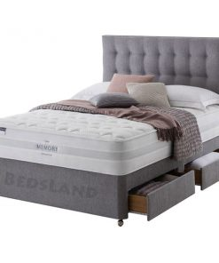Grey Fabric Tokyo Divan Bed with Mattress, Drawers Storage and Headboard - Grey Suede Fabric Bed