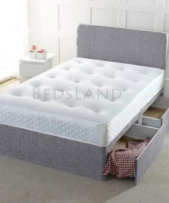 grey divan bed - divan bed with storage base - divan bed with mattress - divan headboard - plain headboard - storage bed - bed with mattress