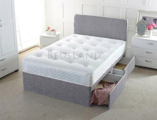 grey double divan beds, grey divan bed - divan bed with storage base - divan bed with mattress - divan headboard - plain headboard - storage bed - bed with mattress - grey double divan bed