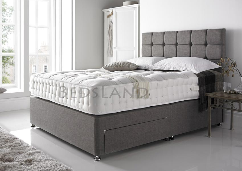 online store d9a61 57119 Grey Linen Look Divan Beds With Storage & Mattress
