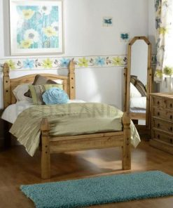 Carona Maxican Wooden Bed Frame - 3ft Single Bed -4ft6 Double Bed - cheap wooden beds - free and fast delivery - free return - free replacement