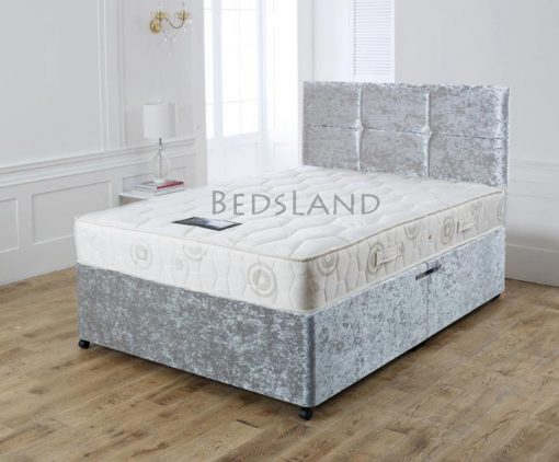 crushed velvet silver divan bed set with headboard storage base and mattress