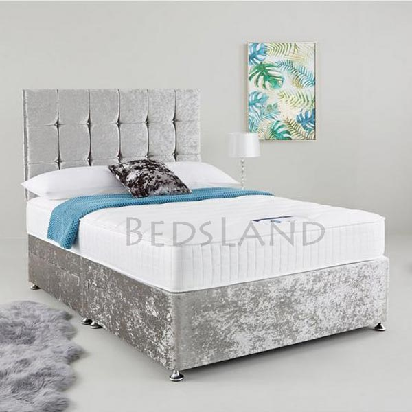 sale retailer b3a7f 0f223 Silver Crushed Velvet 5ft King Size Divan Storage Bed