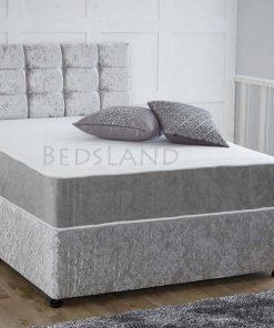 silver divan bed - velvet divan bed - double divan bed - divan storage bed - storage base bed - divan headboard