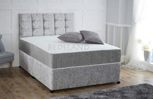 silver crushed velvet divan bed - velvet divan bed - double divan bed - divan storage bed - storage base bed - divan headboard