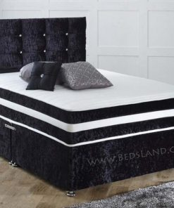 Black Double Beds With Storage and Headboard, crushed velvet black bed