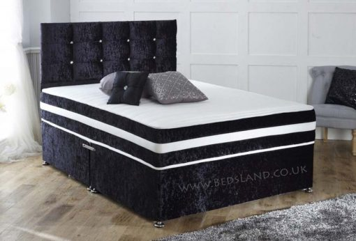 luxury velvet divan bed - double divan bed - storage divan bed - divan headboard