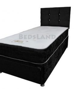 3FT single - black velvet - storage divan bed - storage base - drawers - headboard - mattress - cheap - 3ft bed - divan beds - cheap beds