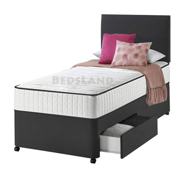 best service 05b36 de3c3 Black Suede Single Bed With Storage