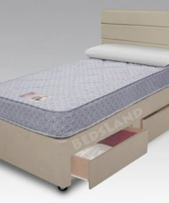 3ft single divan bed - storage base with drawers - mattress - headboard - cream chenille - bed for children - bed for kids - small size bed