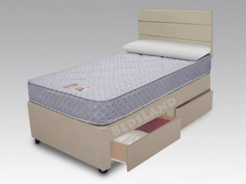 Single Divan Bed with Mattress, 3FT Single Cream crushed Velvet Bed Set