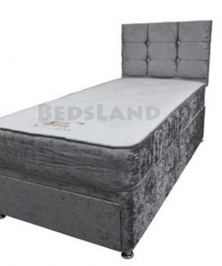 3ft single bed - divan single bed - silver velvet bed - storage bed - divan headboard