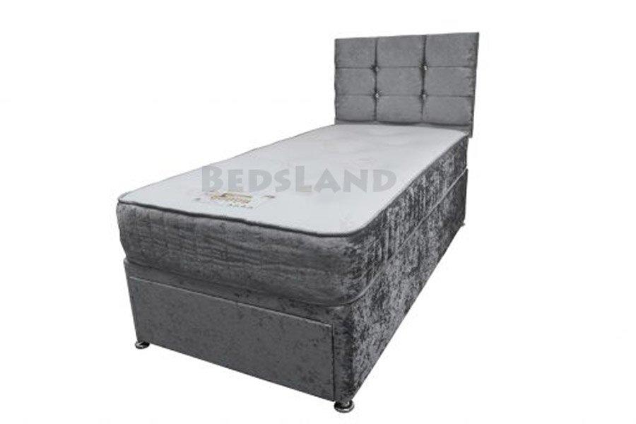 best service 41c5d de9e5 Mesha Hoope Slate Grey Divan Single Bed With Headboard