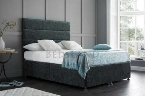 Chenille charcoal divan bed with drawers storage, headboard, mattress, king size, double, small double, single, 3ft, 4ft, 4ft6, 5ft, 6ft